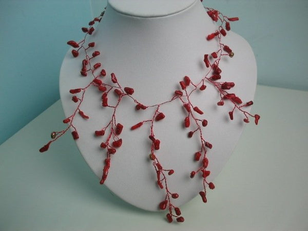 18'' Starry coral chip wire necklace extensive clasp