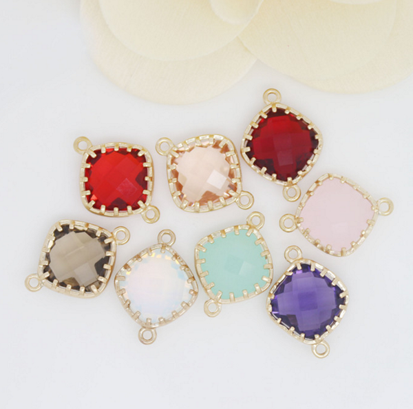5 pcs 24k gold plated brass connector mix color glass zirconia