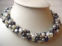 "35"" 5*20mm lavender biwa pearl necklace"