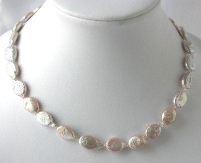 "16""AA 10*12mm pink melon seed biwa pearl necklace"