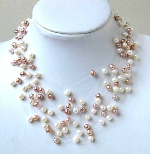 CHarming 12row 6-7mm white & pink cultured pearl necklace