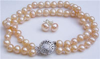 2 Strand Pink Pearl Necklace Bracelet Earring Set