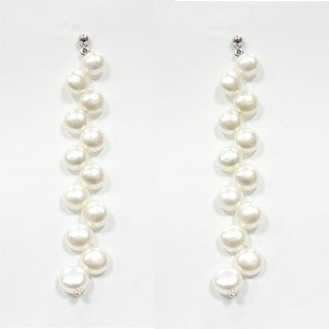 7-8mm white pearl earring sterling silver