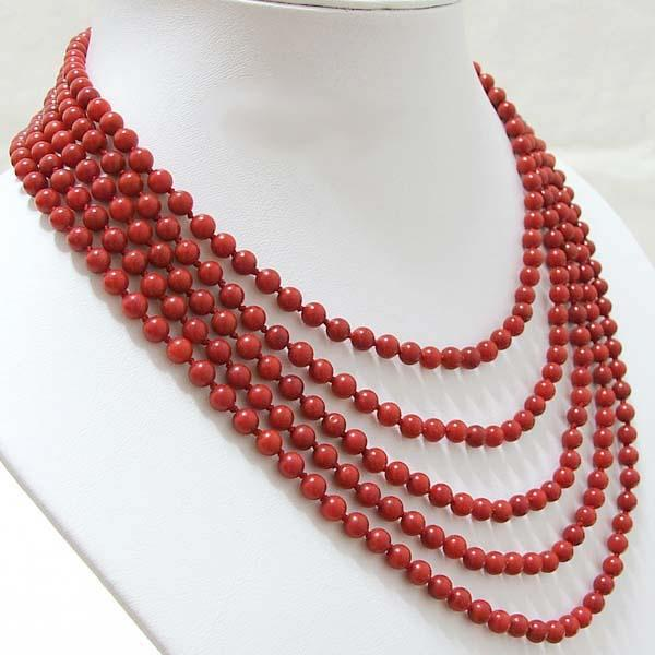 5 Strand red coral bead necklace