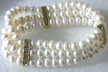 Wholesale 5 pieces beauty 6-7mm 3-rows white pearl bracelet