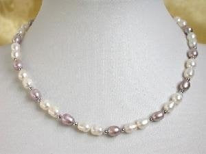 "16"" rice-shape 5*6mm white purple FW pearl gild bead necklace"
