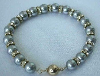 "7.5"" 8mm gray sea shell pearl rhinestone bracelet"