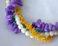 "16"" 4-rows multicolor branch coral necklace"