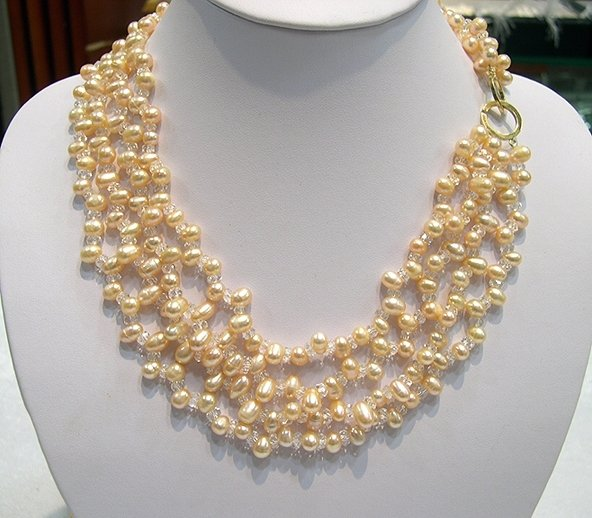 16''-18'' 4rows pink Cultured Pearl & Crystal Necklace [PN1085]