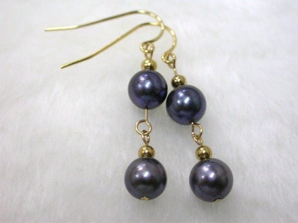 AKOYA round 7mm black saltwater pearl dangle earrings