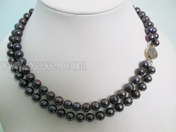 2 strands 8mm peaock black freshwater pearl necklace 925S