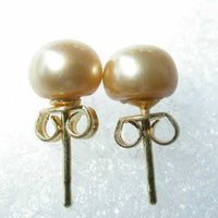 Wholesale 10 pairs 6.5-7mm yellow pearl S925 earring
