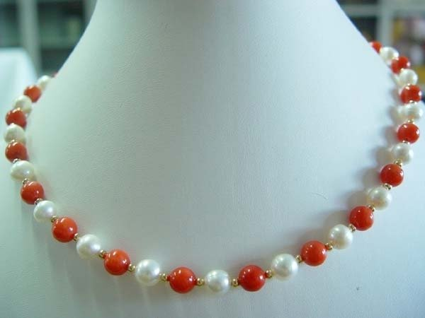 "graceful 17.5"" coral pearl necklace"