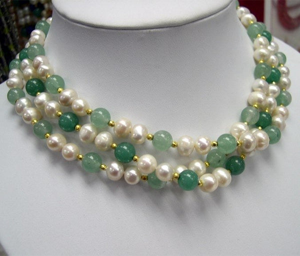 WHOLESALE 3-PCS STUNNING GENUINE PEARL JADE NECKLACES