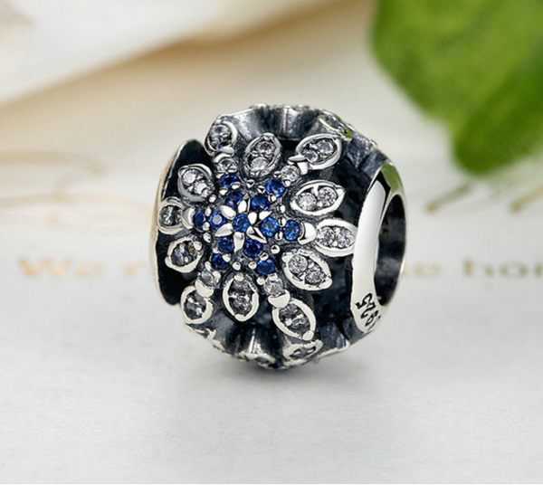 925 Sterling Silver Charm Adorable snow flakes ball Bead Fits Pandora, Biagi, Troll, Chamilla and Many Other European Charm