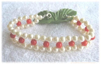 7.5'' knit 5mm AA sea pearl and coral bracelet