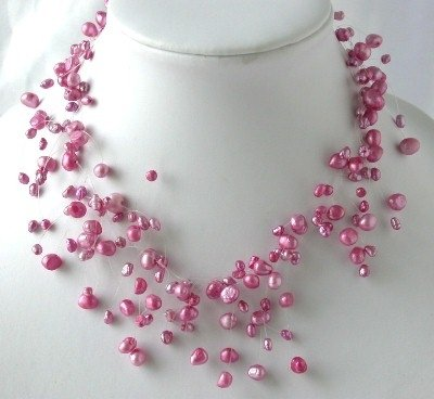 "16"" fantastic pink FW pearl necklace"