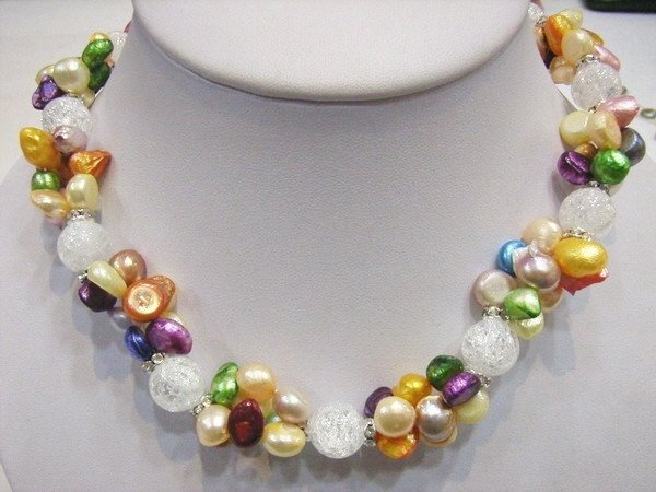 8-9MM White Crystal, 7-8 MM Colourful Pearls Necklace