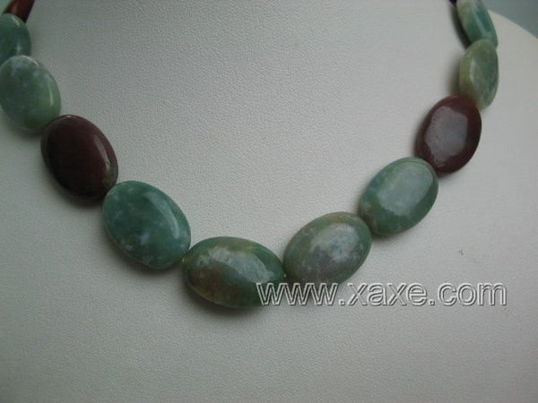 "17"" multicolor jade necklace and elastic bracelet set"