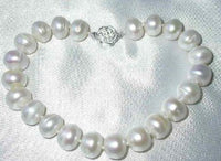 "17""/8"" 10-11mm white FW pearl silver rose clasp necklace"