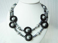 2 Strands Gray Shell Pearl and Freshwater Pearl Necklace