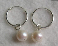 White 7mm AA freshwater pearl earrings silver loop