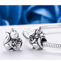 Sterling 925 silver charm squirrel bead pendant fits Pandora charm and European charm bracelet
