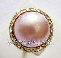 Luxurious 15mm pink mabe pearl ring 14K