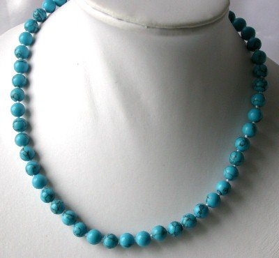 "17"" 8mm blue turquoise round beads necklace"