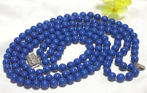 3ROWS 8MM 16''-18'' BLUE GEMSTONE NECKLACE