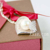 Huge white pearl pendant thick 925silver