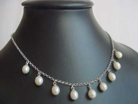 Extender necklace 9 freshwater pearl silver chain