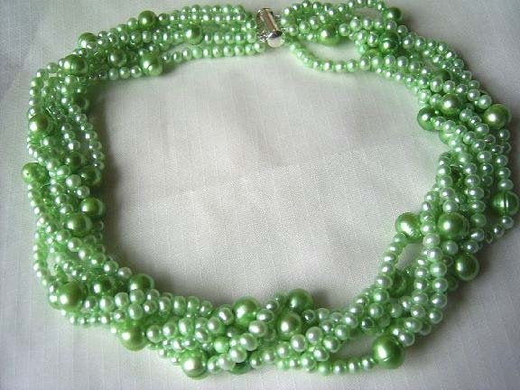 6rows apple green freshwater pearl necklace silver clasp