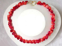 11mm flower handwork carve red pink coral Necklace