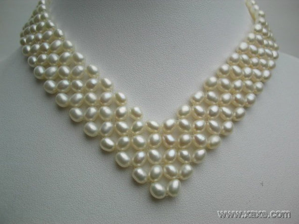 16-18'' 5-6mm white pearl heart shape necklace