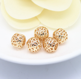 10 pcs 24k gold plated big hole hollow brass spacer beads  brass caps brass connector
