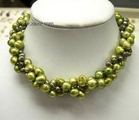 16'' 3rows Green Genuine Cultured Pearl Necklace