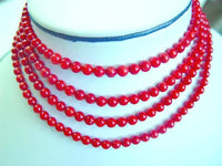 "48"" super long 5mm red coral opera necklace"