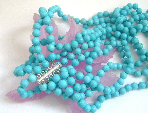 5 strands sky-blue turquoise beads necklace SS925 clasp