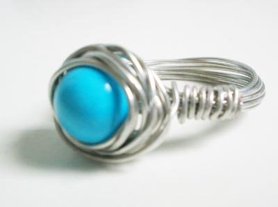 Wire wrapped ring - Turquoise bead with silver copper