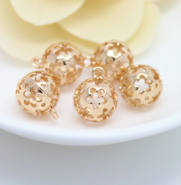 5 pcs 24k gold plated the floral hollow beads spacer beads  brass caps brass connector