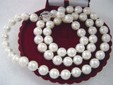 "32"" 12mm white Seashell pearl necklace"