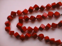 "18"" square red coral beads necklace"