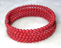 Beauty 7'' 5-rows 4mm red round coral wire bracelet