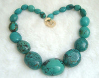 blue natural Old-turquoise beads necklace 9k