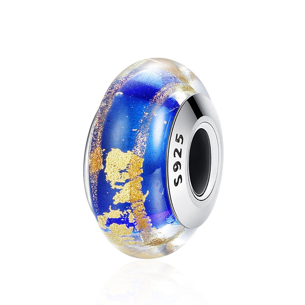Sterling 925 silver charm the blue and gold Murano bead pendant fits European bracelet