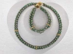 "Beautiful! 15""-16"" 2rows green rice FW Pearl set"