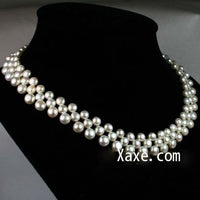 "16.5"" 5-7mm 3 row white pearl necklace"