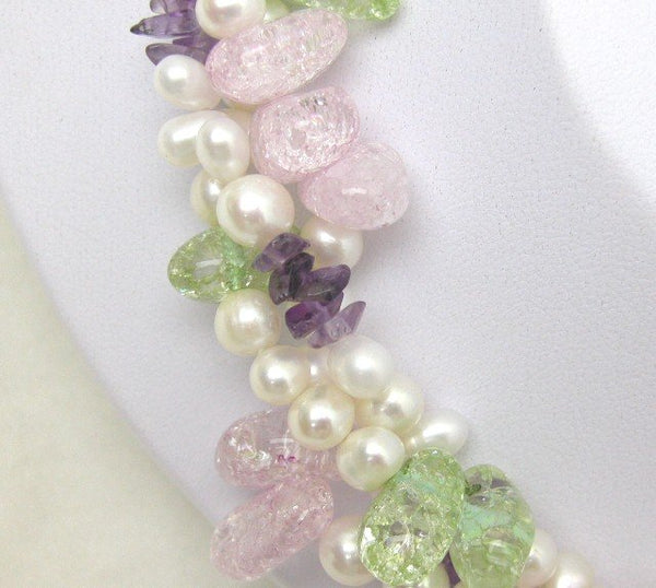 Multicolored 3 Strands Pearl And Crystal Necklace