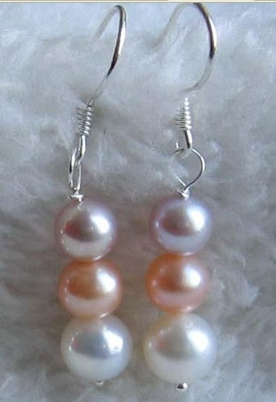 3 color pearls dangle earrings - white pink lavender